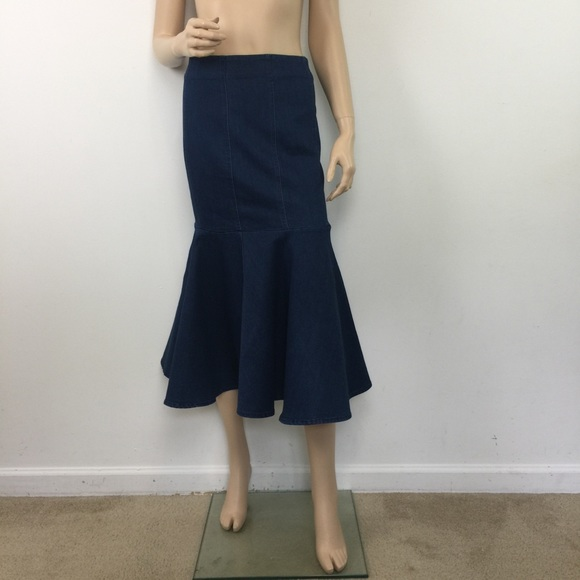 0768ddbf4967 Miranda & Moca Skirts | Miranda Moca Denim Pencil Mermaid Midi Skirt ...